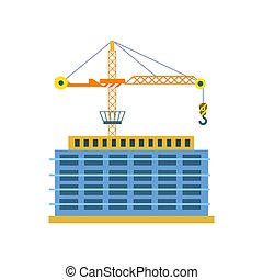 Construction of building isolated vector icon