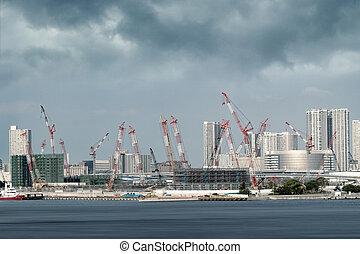 Construction of buildings in Tokyo bay area
