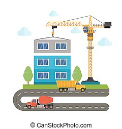 construction of buildings using construction equipment. Crane truck and concrete mixer. Flat style illustration