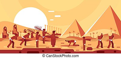 Construction of Egyptian pyramids. Slaves move blocks for ...