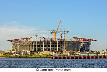 Construction of football stadium