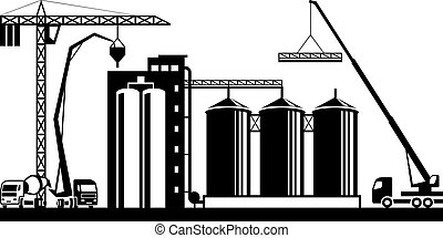 Construction of grain silo - vector illustration