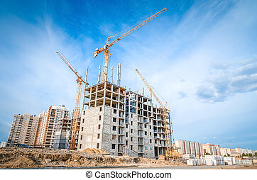 Construction of high-rise houses and construction works