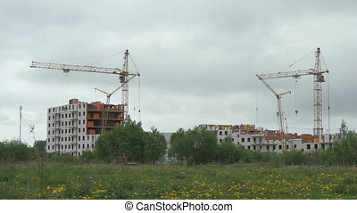 The construction of high-rise residential buildings in the residential complex