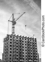 Construction of highrise buildings and column crane