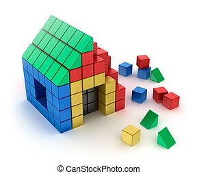 Construction of house from children