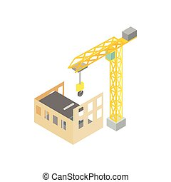 Construction of house with tower crane icon, isometric 3d style