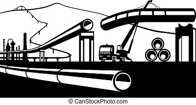 Construction of industrial pipelines - vector illustration