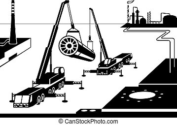 Construction of industrial plant - vector illustration