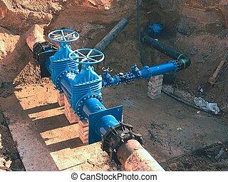 Construction of main City water supply pipeline underground....