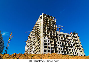 Construction of multi-storey houses in Moscow, Russia