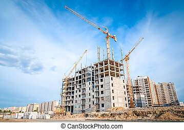 Construction of new apartments and crane