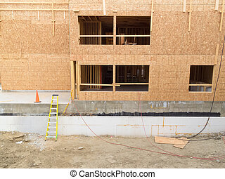 Construction of new building empty window openings