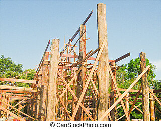 Construction of new church in Thai temple,North East of Thailand