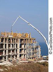 Construction of new elite housing on the sea coast