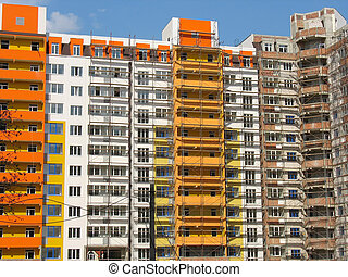 construction of new modern apartments house