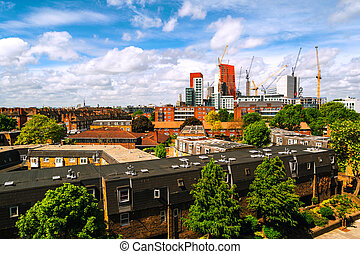 Construction of new skyscrapers in South Lambeth in central...