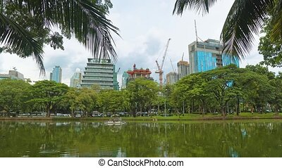 construction of office corporate buildings overlooking the...