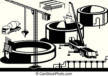 Construction of oil base - vector illustration