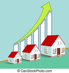 Construction of real estate. Growth chart. Stock vector illustra