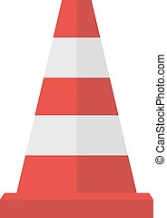 Construction of red road cones with stripes attention symbol...