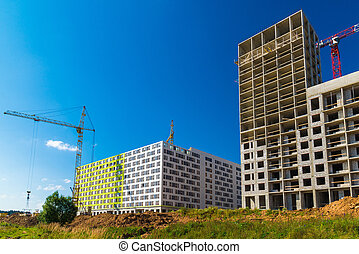 Construction of residential buildings in Moscow, Russia