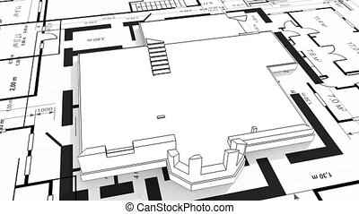 Construction of residential house, wireframe