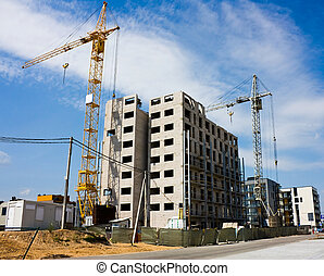 construction of residential houses, crane