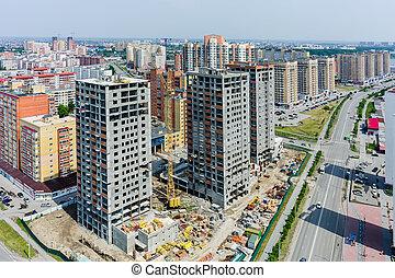 Construction of residential houses in Tyumen