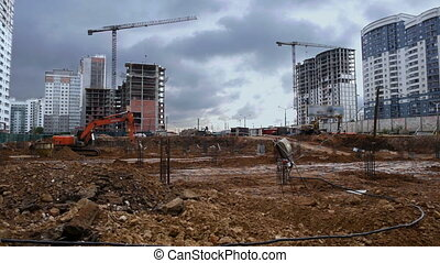 Construction of residential multistorey buildings, timelapse