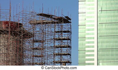 construction of skyscraper building