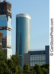 Construction of skyscrapers from glass, a steel and concrete of a complex of the international business centre Moscow-city, Moscow, Russia