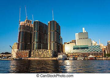 Construction of skyscrapers in Barangaroo neighbourhood of Sydney