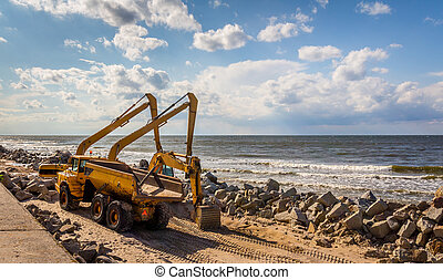 Construction of the breakwater