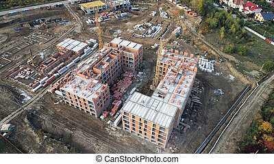 Construction of the building top view.