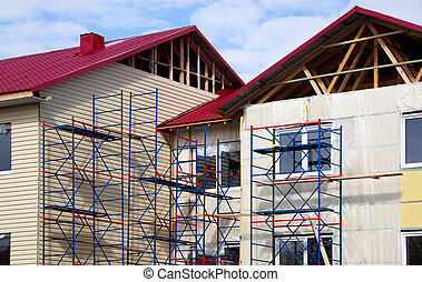 Construction of the house. Facade