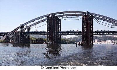Construction of the Iron Bridge of pipes in Kiev, Ukraine
