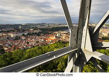 Construction of the Petrin lookout tower in Prague, Czech Republic