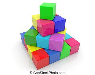 Construction of toy blocks.3d illustration