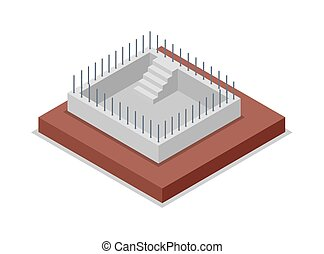 Construction of walls isometric 3D icon