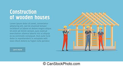 Construction of Wooden House Web Banner. Vector - ...