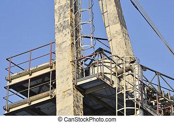 Construction on blue sky background .