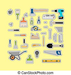 Construction or working tools stickers