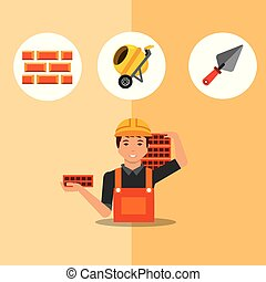 construction, outils, gens