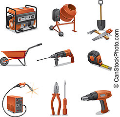 construction, outils, icônes