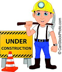 construction, ouvrier, jeune, signe