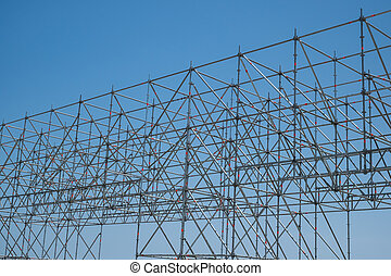 construction, partie, moderne, échafaudage, site