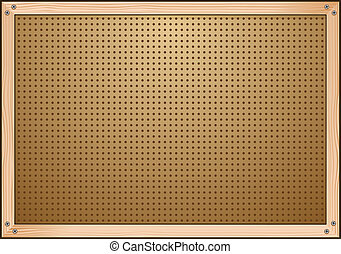 A peg board that is part of a garage work bench for construction