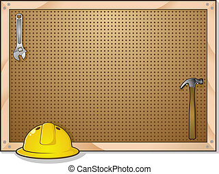 A peg board that is part of a garage work bench for construction, with a helmet, hammer and wrench