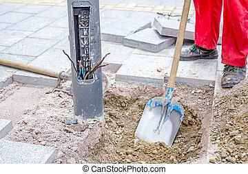 construction, pelle, ouvrier, fonctionnement